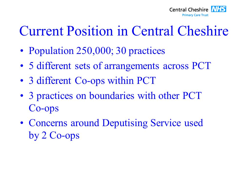 Current Position in Central Cheshire Population 250,000; 30 practices 5 different sets of arrangements across PCT 3 different Co-ops within PCT 3 practices on boundaries with other PCT Co-ops Concerns around Deputising Service used by 2 Co-ops