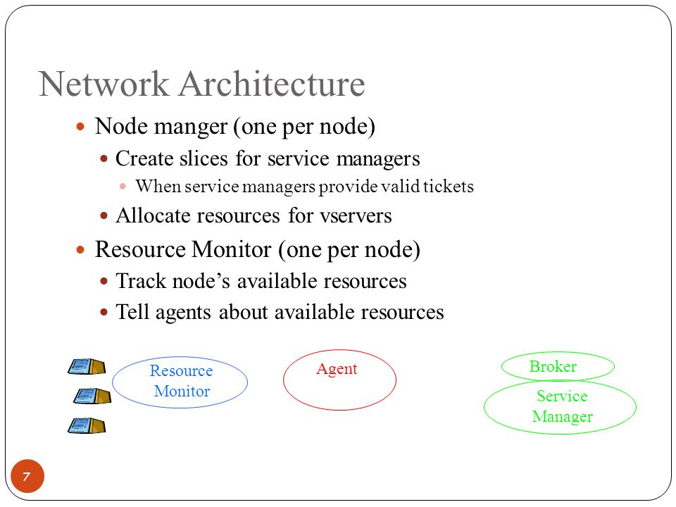 Network Architecture 7 Node manger (one per node) Create slices for service managers When service managers provide valid tickets Allocate resources for vservers Resource Monitor (one per node) Track nodes available resources Tell agents about available resources Agent Service Manager Broker Resource Monitor