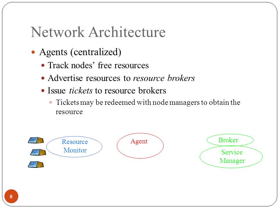 Network Architecture 9 Resource Broker (per service) Obtain tickets from agents on behalf of service managers Service Managers (per service) Obtain tickets from broker Redeem tickets with node managers to acquire resources If resources can be acquired, start service Agent Service Manager Broker Resource Monitor