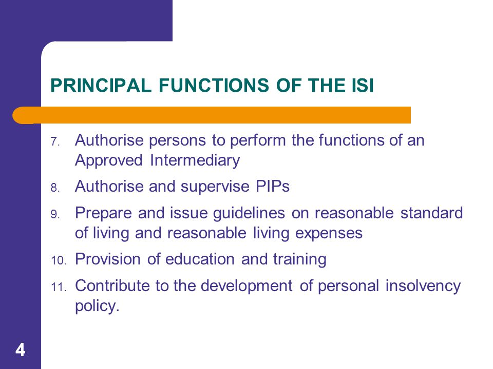 44 PRINCIPAL FUNCTIONS OF THE ISI 7.