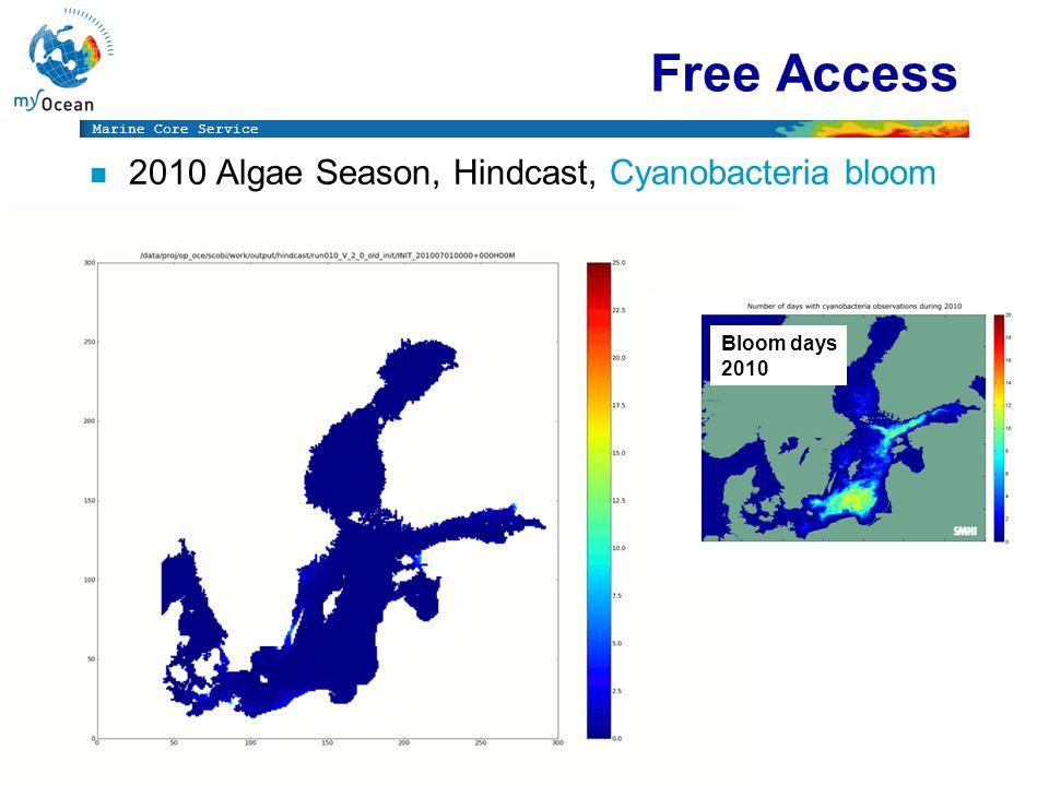 Marine Core Service Free Access n 2010 Algae Season, Hindcast, Cyanobacteria bloom Bloom days 2010