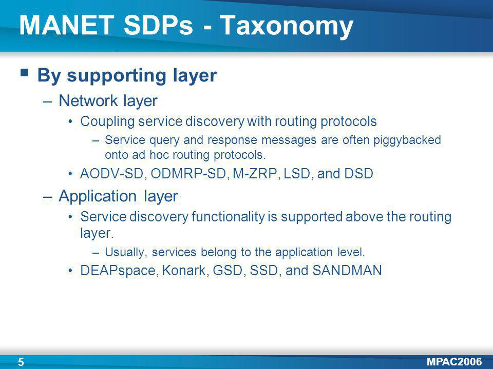 MPAC2006 5 MANET SDPs - Taxonomy By supporting layer –Network layer Coupling service discovery with routing protocols –Service query and response messages are often piggybacked onto ad hoc routing protocols.