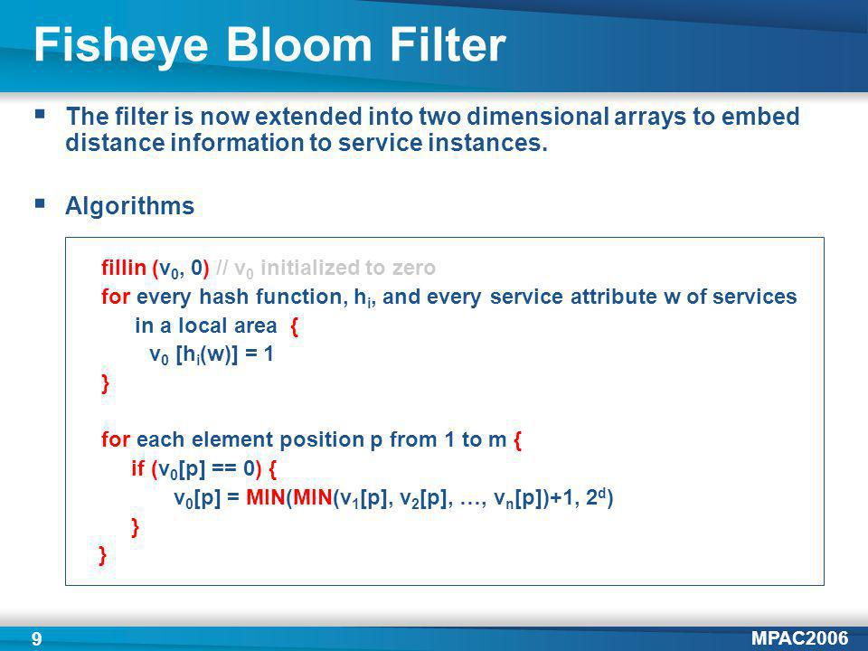 MPAC2006 9 Fisheye Bloom Filter The filter is now extended into two dimensional arrays to embed distance information to service instances.