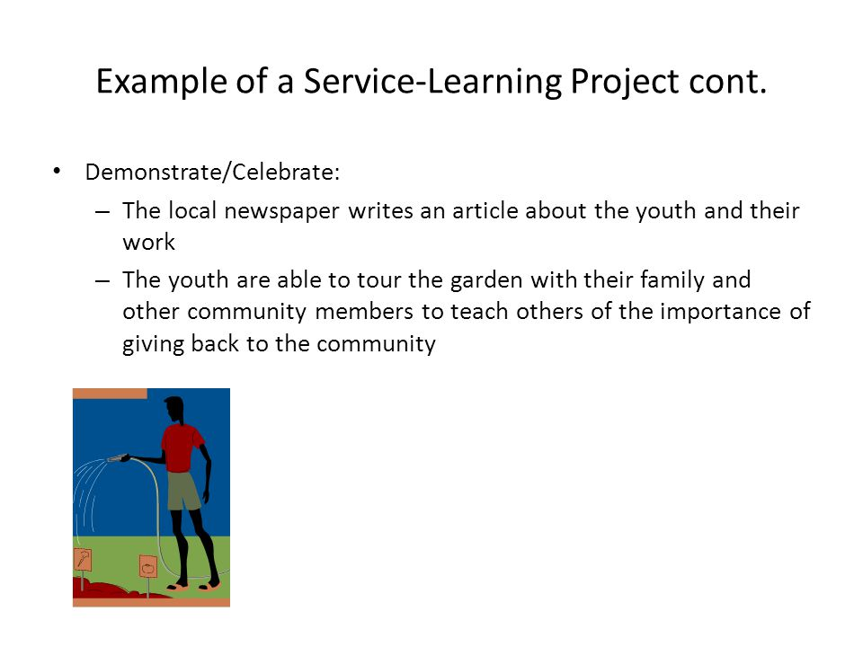 Example of a Service-Learning Project cont.