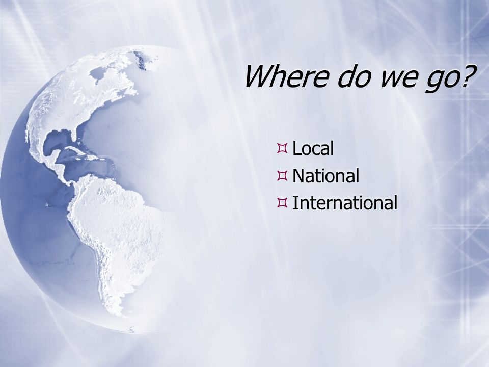 Where do we go Local National International Local National International