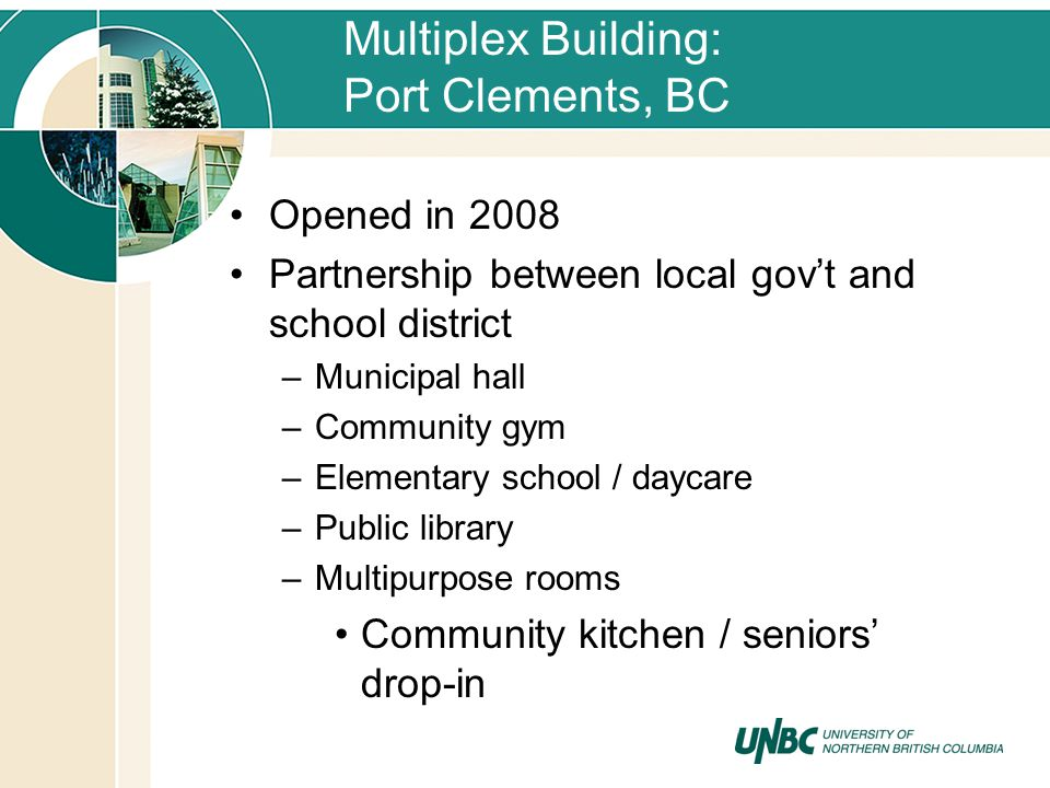 Multiplex Building: Port Clements, BC Opened in 2008 Partnership between local govt and school district –Municipal hall –Community gym –Elementary sch
