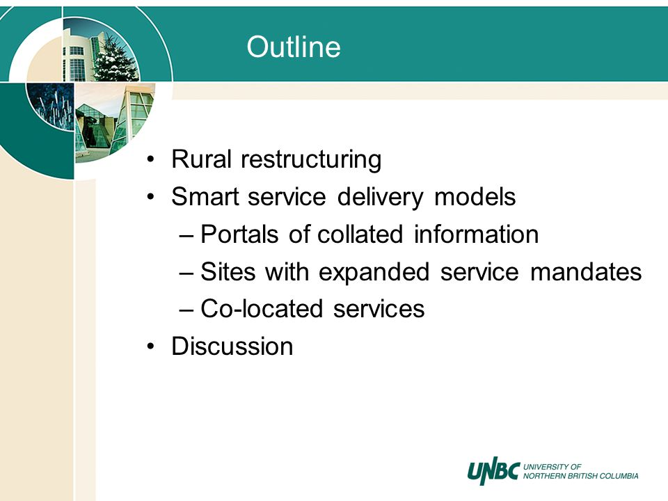 Outline Rural restructuring Smart service delivery models –Portals of collated information –Sites with expanded service mandates –Co-located services