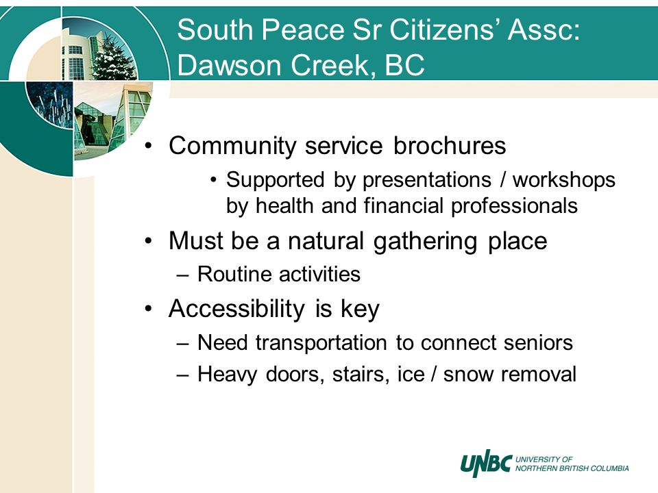 South Peace Sr Citizens Assc: Dawson Creek, BC Community service brochures Supported by presentations / workshops by health and financial professionals Must be a natural gathering place –Routine activities Accessibility is key –Need transportation to connect seniors –Heavy doors, stairs, ice / snow removal