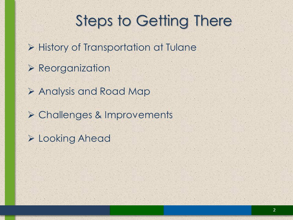 2 History of Transportation at Tulane Reorganization Analysis and Road Map Challenges & Improvements Looking Ahead Steps to Getting There