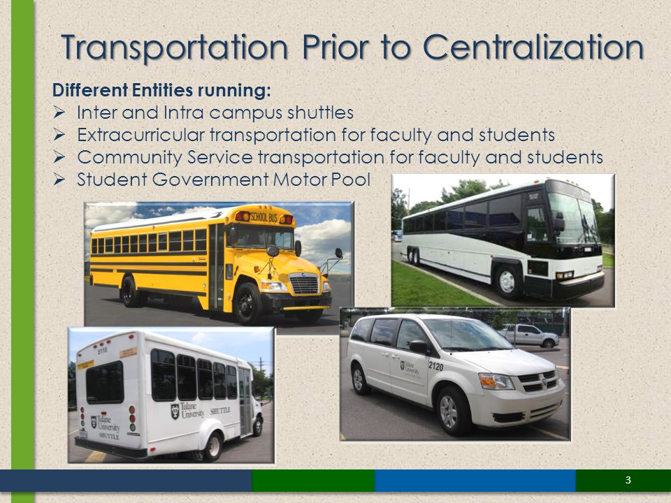 Different Entities running: Inter and Intra campus shuttles Extracurricular transportation for faculty and students Community Service transportation for faculty and students Student Government Motor Pool Transportation Prior to Centralization 3