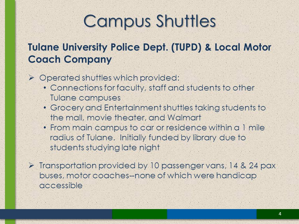 4 Campus Shuttles Tulane University Police Dept. (TUPD) & Local Motor Coach Company Operated shuttles which provided: Connections for faculty, staff a