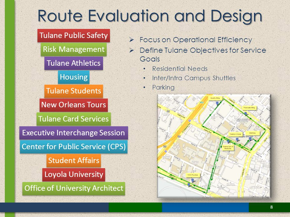 8 Focus on Operational Efficiency Define Tulane Objectives for Service Goals Residential Needs Inter/Intra Campus Shuttles Parking Route Evaluation and Design Tulane Public Safety Risk Management Tulane Athletics Housing Tulane Students New Orleans Tours Tulane Card Services Executive Interchange Session Center for Public Service (CPS) Student Affairs Loyola University Office of University Architect