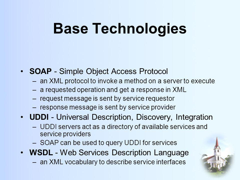 Base Technologies SOAP - Simple Object Access Protocol –an XML protocol to invoke a method on a server to execute –a requested operation and get a response in XML –request message is sent by service requestor –response message is sent by service provider UDDI - Universal Description, Discovery, Integration –UDDI servers act as a directory of available services and service providers –SOAP can be used to query UDDI for services WSDL - Web Services Description Language –an XML vocabulary to describe service interfaces