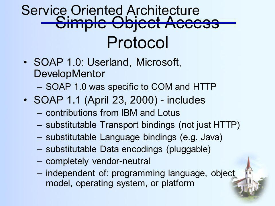 Simple Object Access Protocol SOAP 1.0: Userland, Microsoft, DevelopMentor –SOAP 1.0 was specific to COM and HTTP SOAP 1.1 (April 23, 2000) - includes –contributions from IBM and Lotus –substitutable Transport bindings (not just HTTP) –substitutable Language bindings (e.g.