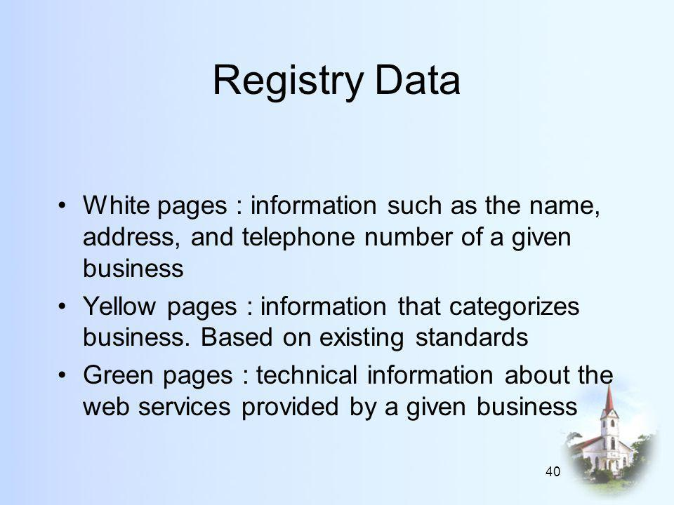 40 Registry Data White pages : information such as the name, address, and telephone number of a given business Yellow pages : information that categorizes business.