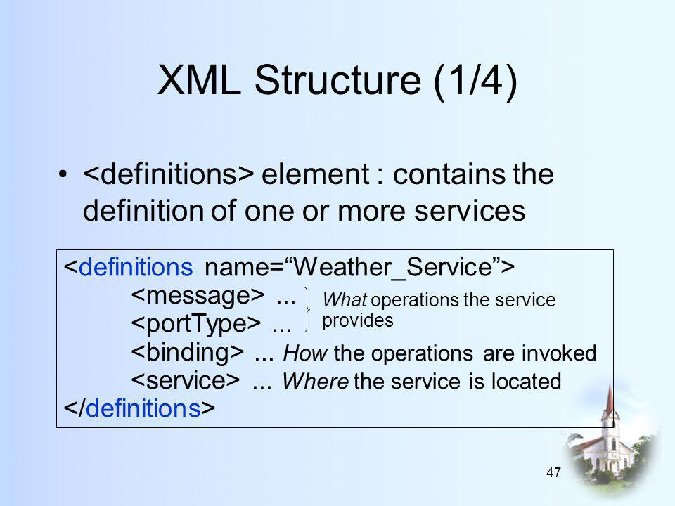 47 XML Structure (1/4) element : contains the definition of one or more services......