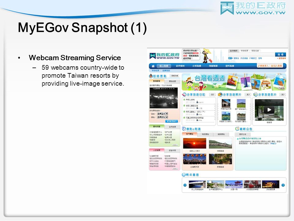 MyEGov Snapshot (1) Webcam Streaming Service –59 webcams country-wide to promote Taiwan resorts by providing live-image service.