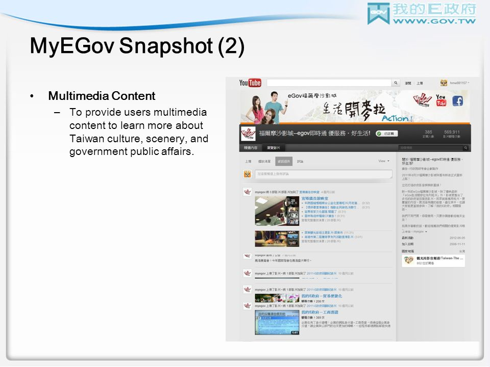 MyEGov Snapshot (2) Multimedia Content –To provide users multimedia content to learn more about Taiwan culture, scenery, and government public affairs.