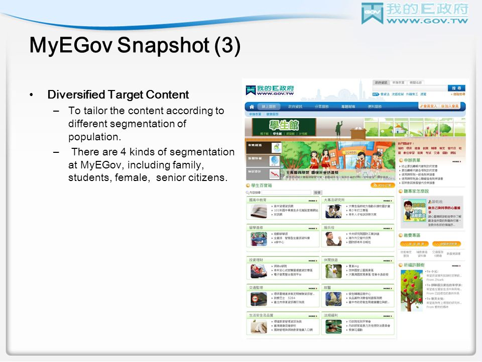 MyEGov Snapshot (3) Diversified Target Content –To tailor the content according to different segmentation of population.