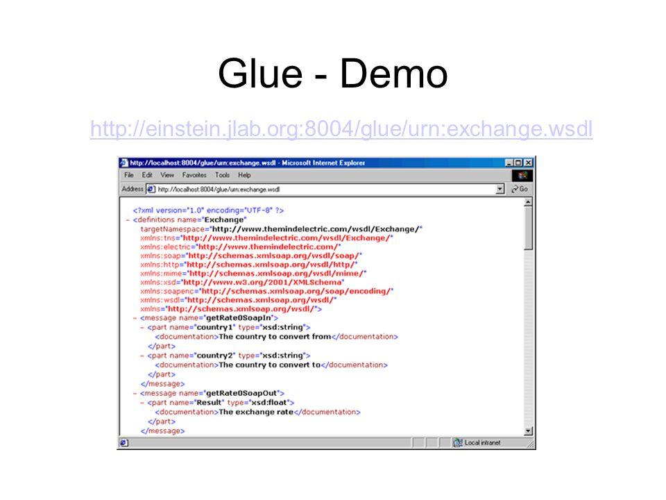 Glue - Demo http://einstein.jlab.org:8004/glue/urn:exchange.wsdl