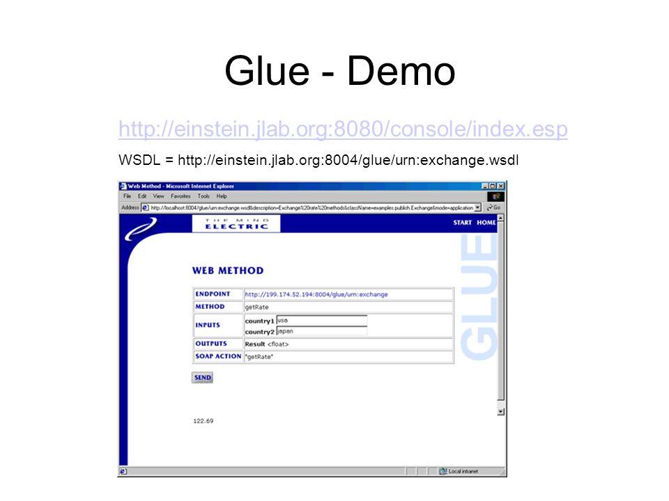 Glue - Demo http://einstein.jlab.org:8080/console/index.esp WSDL = http://einstein.jlab.org:8004/glue/urn:exchange.wsdl