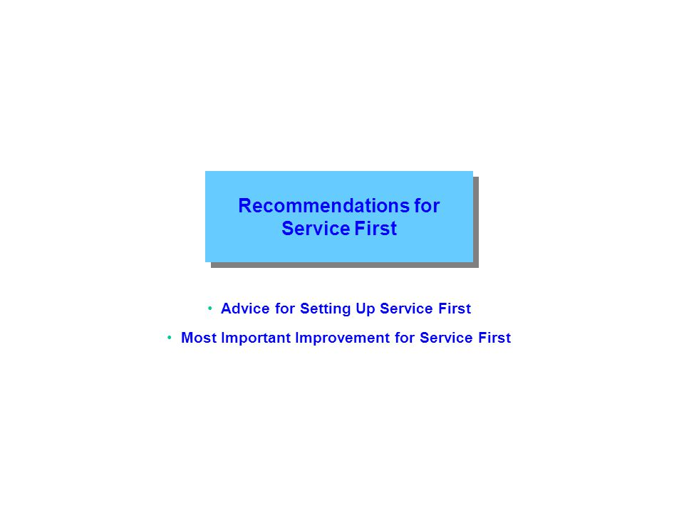 Recommendations for Service First Advice for Setting Up Service First Most Important Improvement for Service First