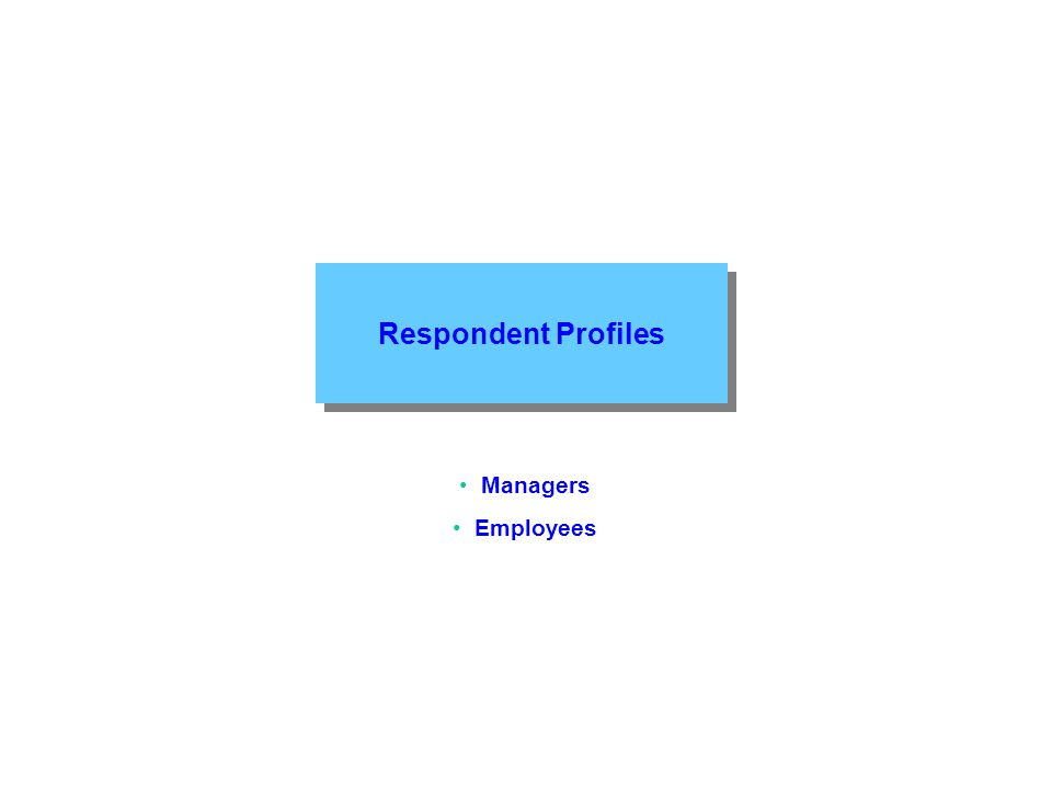 Respondent Profiles Managers Employees