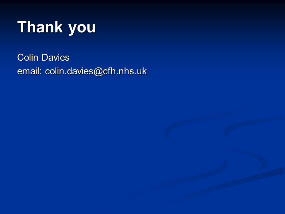 Thank you Colin Davies email: colin.davies@cfh.nhs.uk