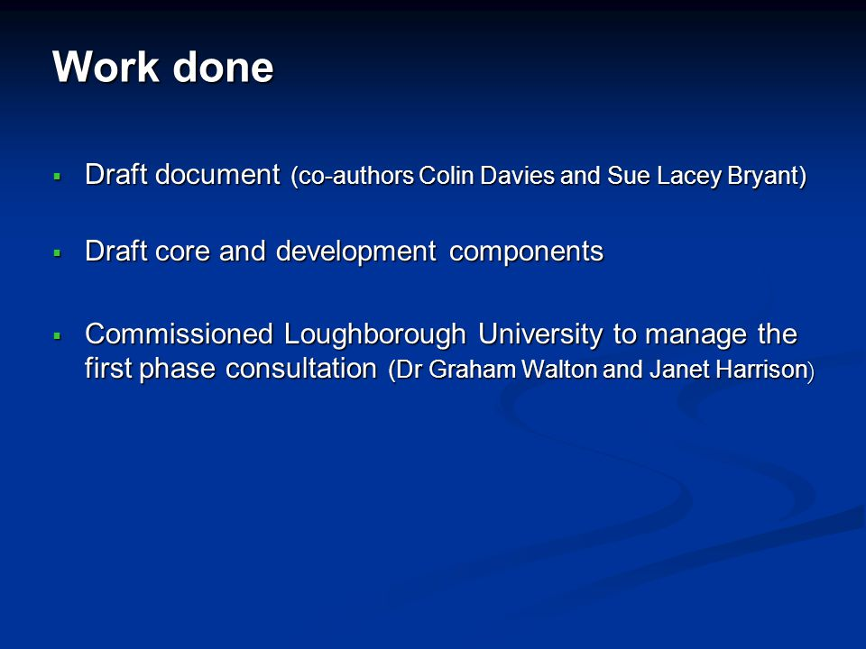 Work done Draft document (co-authors Colin Davies and Sue Lacey Bryant) Draft document (co-authors Colin Davies and Sue Lacey Bryant) Draft core and d