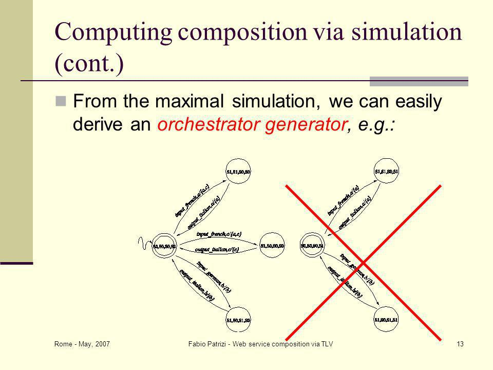 Rome - May, 2007 Fabio Patrizi - Web service composition via TLV13 Computing composition via simulation (cont.) From the maximal simulation, we can easily derive an orchestrator generator, e.g.: