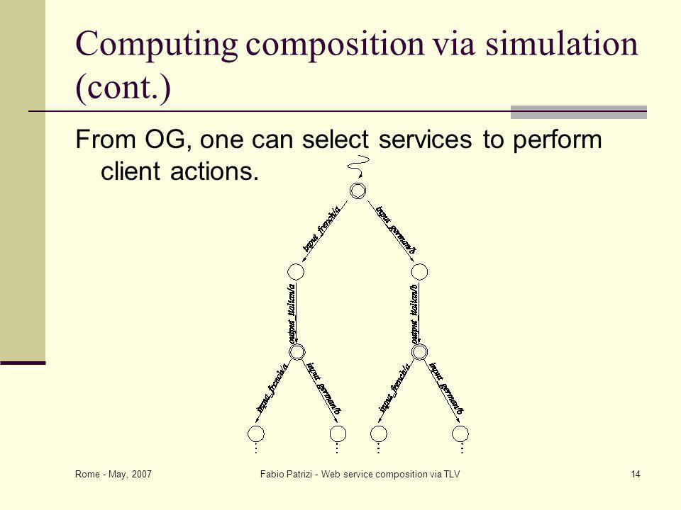 Rome - May, 2007 Fabio Patrizi - Web service composition via TLV14 Computing composition via simulation (cont.) From OG, one can select services to perform client actions.