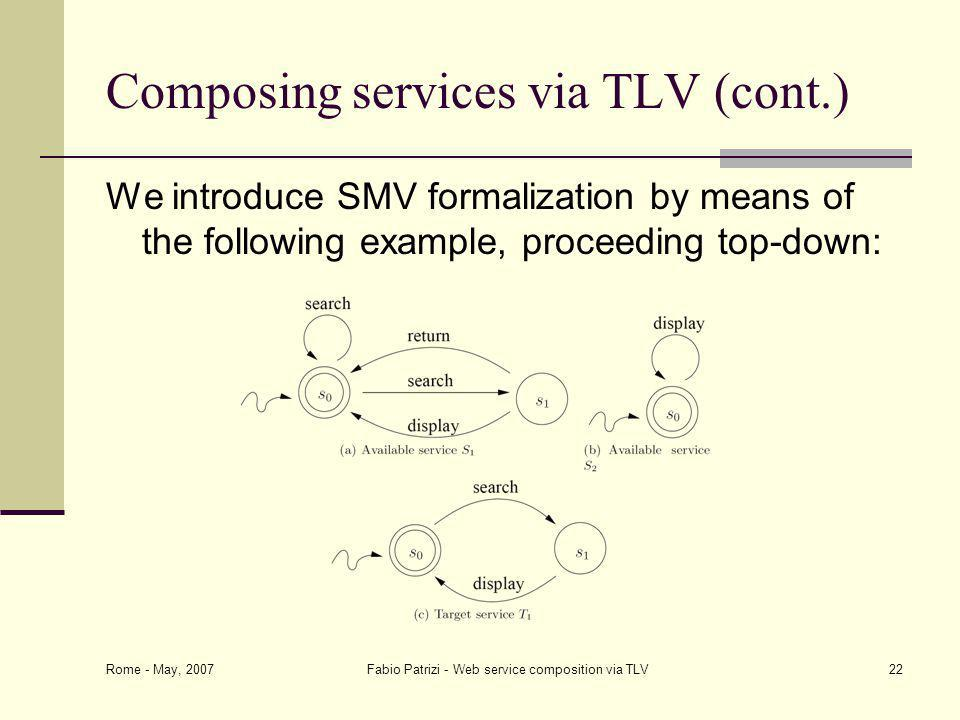 Rome - May, 2007 Fabio Patrizi - Web service composition via TLV22 Composing services via TLV (cont.) We introduce SMV formalization by means of the following example, proceeding top-down: