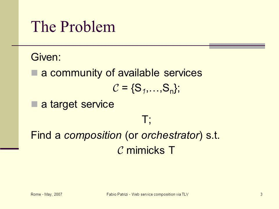 Rome - May, 2007 Fabio Patrizi - Web service composition via TLV3 The Problem Given: a community of available services C = {S 1,…,S n }; a target service T; Find a composition (or orchestrator) s.t.