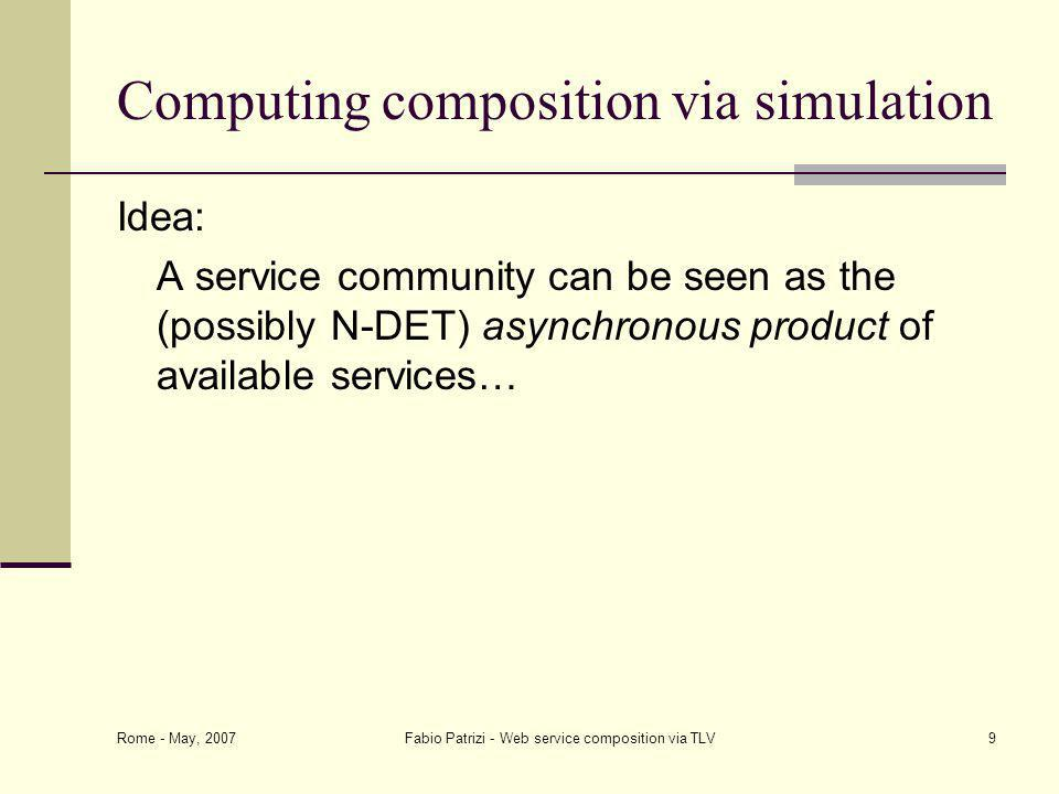 Rome - May, 2007 Fabio Patrizi - Web service composition via TLV9 Computing composition via simulation Idea: A service community can be seen as the (possibly N-DET) asynchronous product of available services…