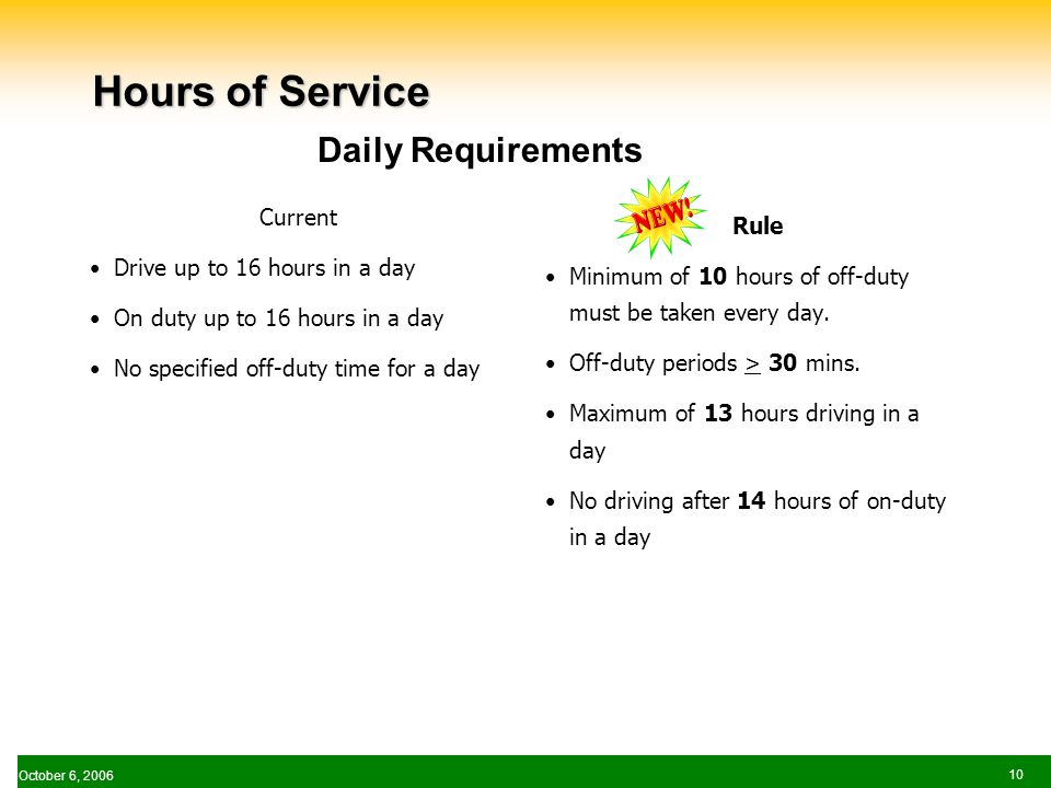 October 6, Hours of Service Current Drive up to 16 hours in a day On duty up to 16 hours in a day No specified off-duty time for a day Rule Minimum of 10 hours of off-duty must be taken every day.