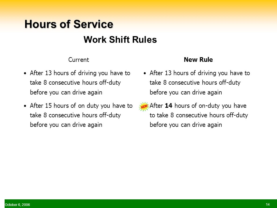 October 6, Hours of Service Current After 13 hours of driving you have to take 8 consecutive hours off-duty before you can drive again After 15 hours of on duty you have to take 8 consecutive hours off-duty before you can drive again New Rule After 13 hours of driving you have to take 8 consecutive hours off-duty before you can drive again After 14 hours of on-duty you have to take 8 consecutive hours off-duty before you can drive again Work Shift Rules