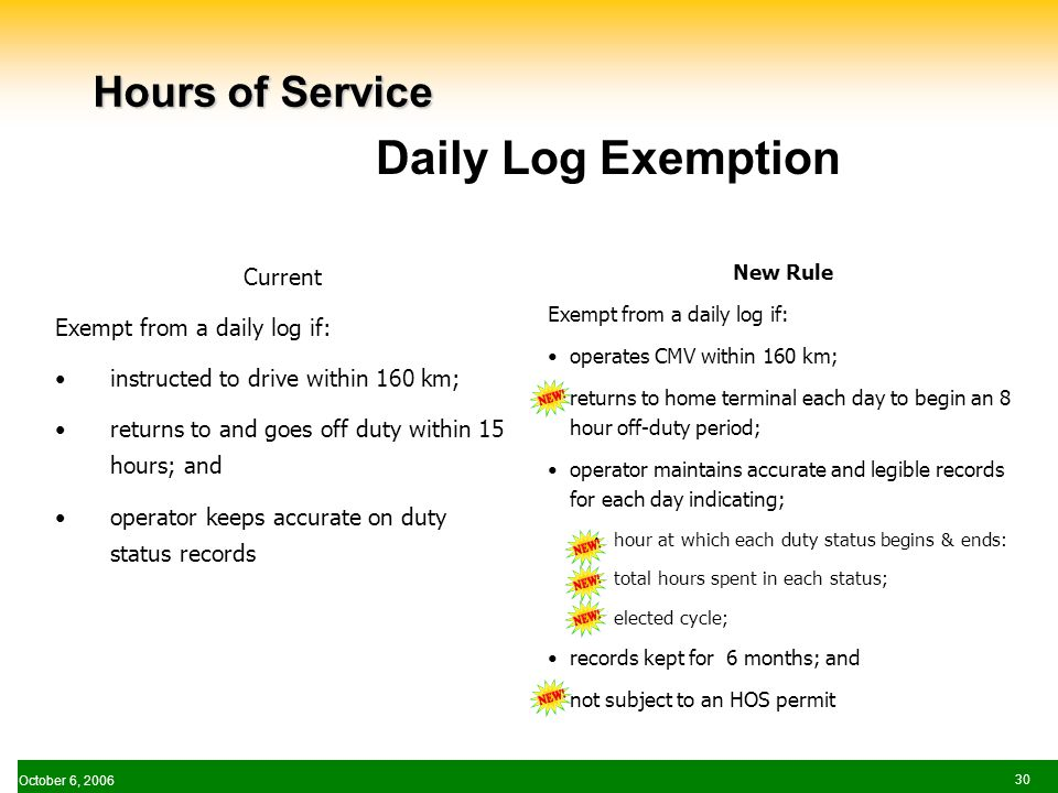October 6, Hours of Service Current Exempt from a daily log if: instructed to drive within 160 km; returns to and goes off duty within 15 hours; and operator keeps accurate on duty status records New Rule Exempt from a daily log if: operates CMV within 160 km; returns to home terminal each day to begin an 8 hour off-duty period; operator maintains accurate and legible records for each day indicating; hour at which each duty status begins & ends: total hours spent in each status; elected cycle; records kept for 6 months; and not subject to an HOS permit Daily Log Exemption