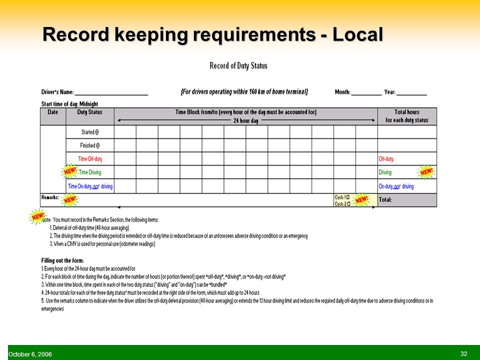October 6, Record keeping requirements - Local