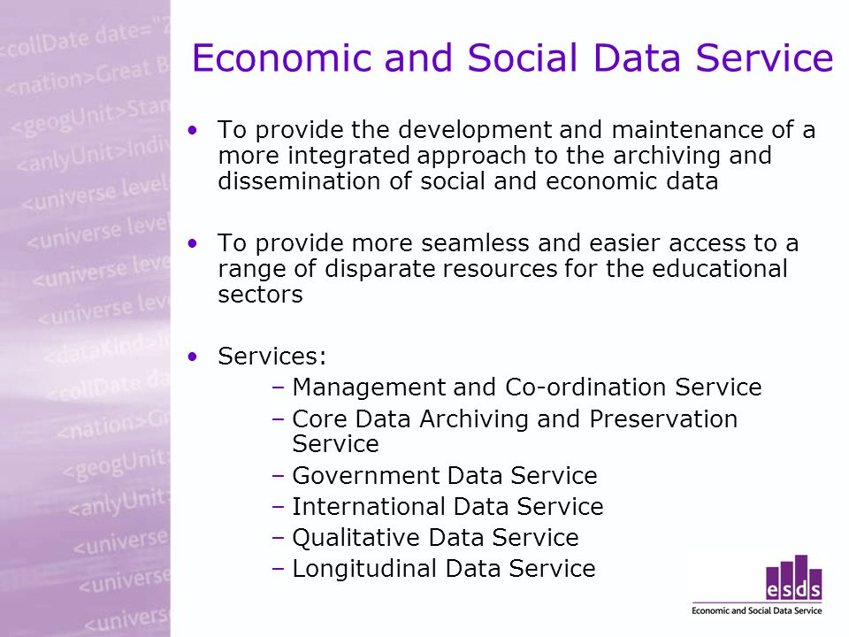 Economic and Social Data Service To provide the development and maintenance of a more integrated approach to the archiving and dissemination of social and economic data To provide more seamless and easier access to a range of disparate resources for the educational sectors Services: –Management and Co-ordination Service –Core Data Archiving and Preservation Service –Government Data Service –International Data Service –Qualitative Data Service –Longitudinal Data Service
