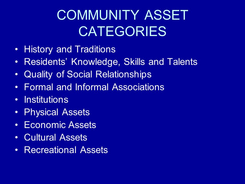 COMMUNITY ASSET CATEGORIES History and Traditions Residents Knowledge, Skills and Talents Quality of Social Relationships Formal and Informal Associations Institutions Physical Assets Economic Assets Cultural Assets Recreational Assets
