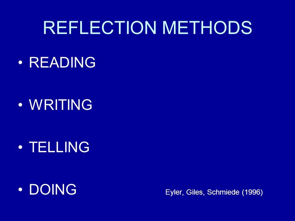 REFLECTION METHODS READING WRITING TELLING DOING Eyler, Giles, Schmiede (1996)