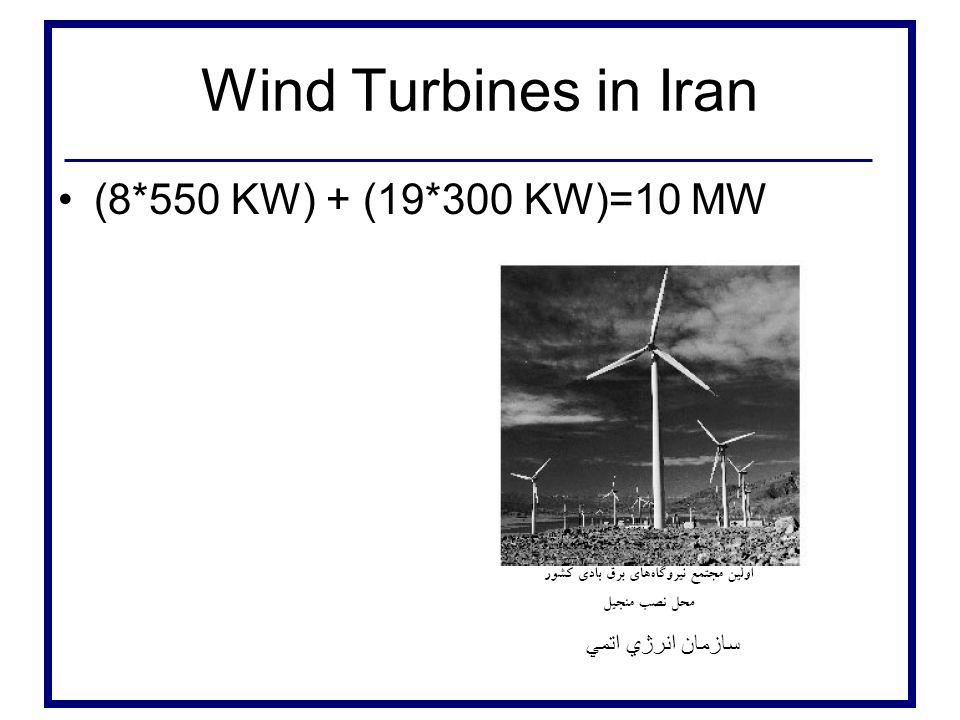 Wind Turbines in Iran (8*550 KW) + (19*300 KW)=10 MW سازمان انرژي اتمي