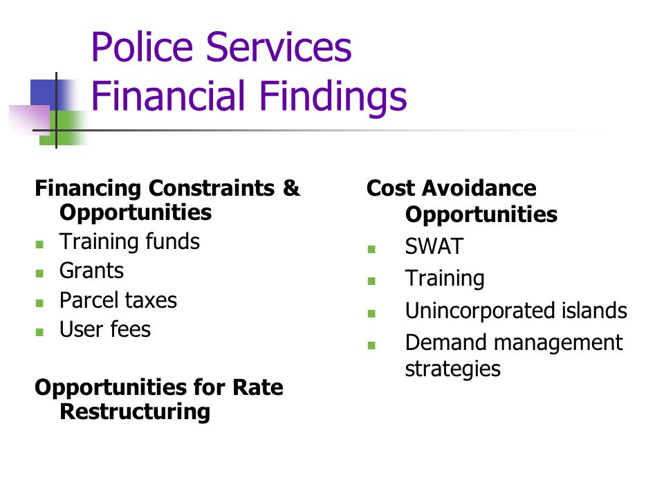 Police Services Financial Findings Financing Constraints & Opportunities Training funds Grants Parcel taxes User fees Opportunities for Rate Restructuring Cost Avoidance Opportunities SWAT Training Unincorporated islands Demand management strategies