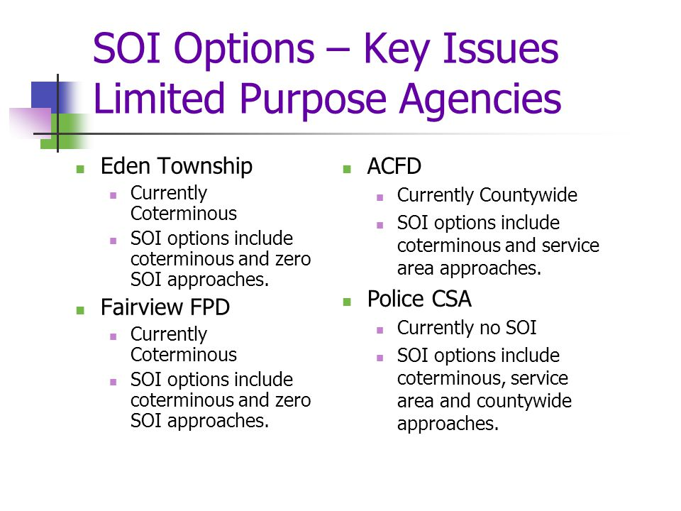 SOI Options – Key Issues Limited Purpose Agencies Eden Township Currently Coterminous SOI options include coterminous and zero SOI approaches.