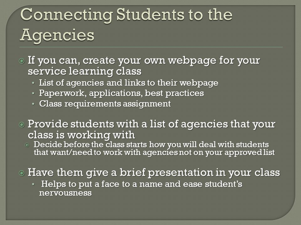 If you can, create your own webpage for your service learning class If you can, create your own webpage for your service learning class List of agenci