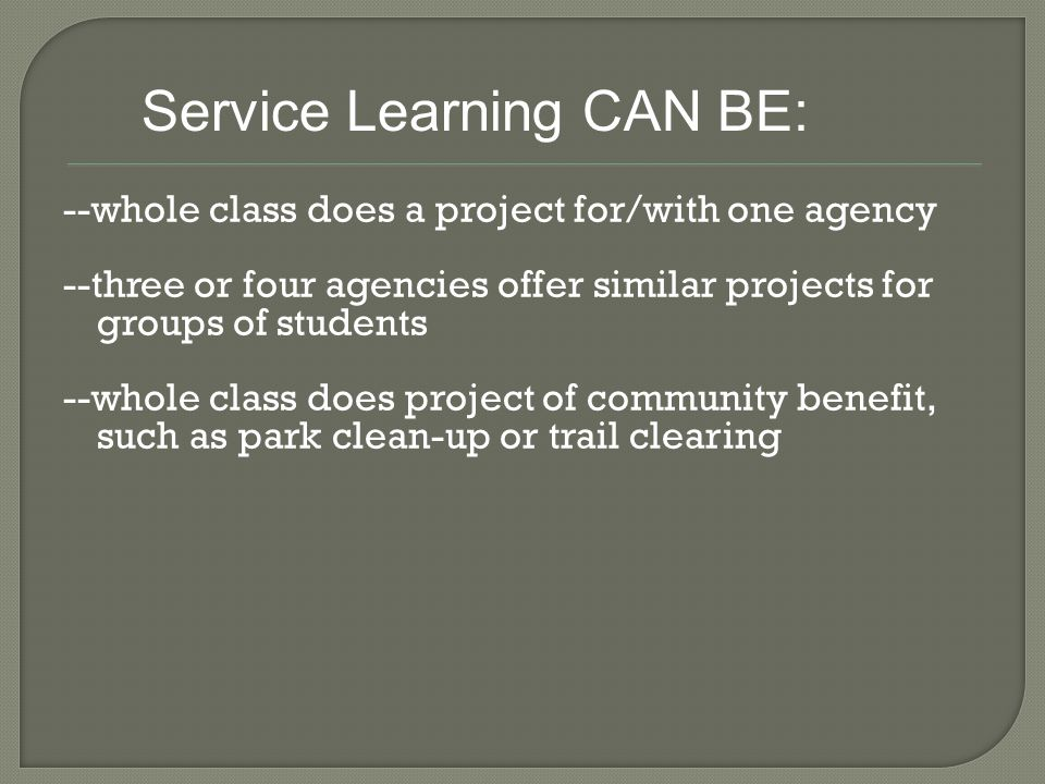 --whole class does a project for/with one agency --three or four agencies offer similar projects for groups of students --whole class does project of