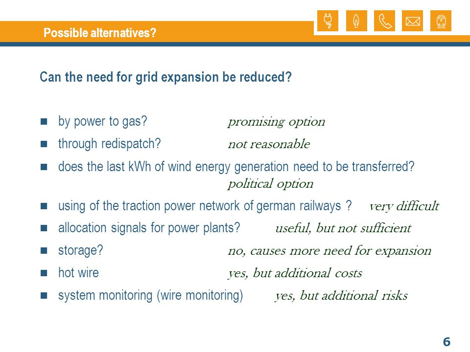 6 Possible alternatives. Can the need for grid expansion be reduced.