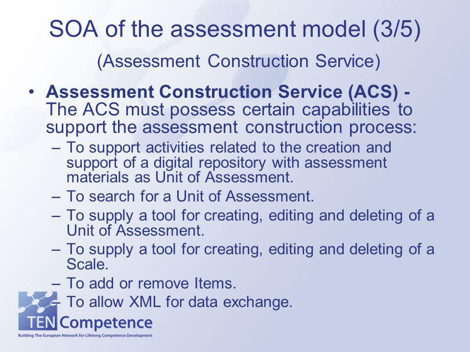 SOA of the assessment model (3/5) (Assessment Construction Service) Assessment Construction Service (ACS) - The ACS must possess certain capabilities to support the assessment construction process: –To support activities related to the creation and support of a digital repository with assessment materials as Unit of Assessment.