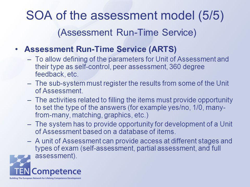 SOA of the assessment model (5/5) (Assessment Run-Time Service) Assessment Run-Time Service (ARTS) –To allow defining of the parameters for Unit of Assessment and their type as self-control, peer assessment, 360 degree feedback, etc.