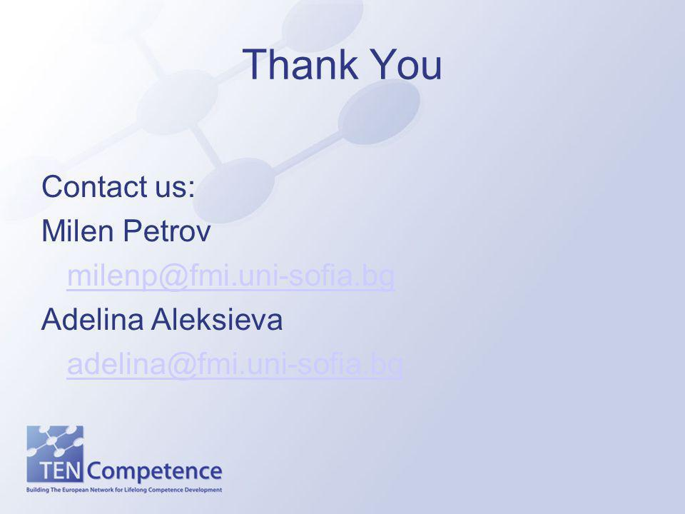 Thank You Contact us: Milen Petrov milenp@fmi.uni-sofia.bg Adelina Aleksieva adelina@fmi.uni-sofia.bg